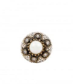 Ring - Perle mit Strass, weiß