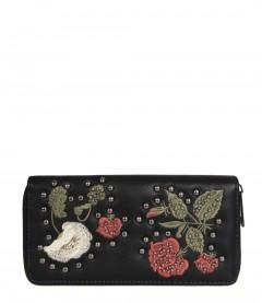 Geldbörse - Blumen, Nieten, schwarz