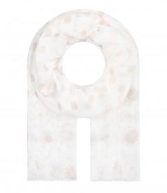 Damen Halstuch - Blumen, Punkte, creme