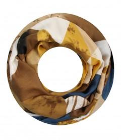 Damen Loop Schal - grafisches Muster, senfgelb