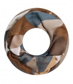 Damen Loop Schal - grafisches Muster, beige