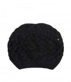 Damen Strick Mütze, schwarz