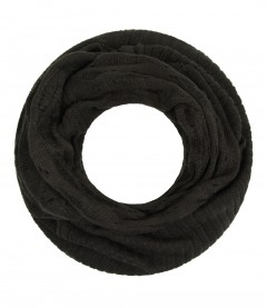 Damen Loop Schal - Strick, uni, olive
