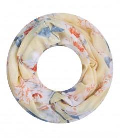 Damen Loop Schal - Blumen, gelb