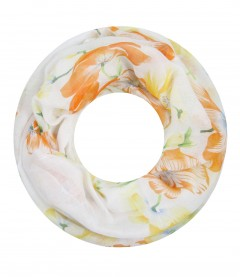 Damen Loop Schal - Blumen, orange
