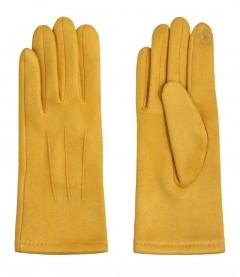 Einfarbige Damen Handschuhe, gelb
