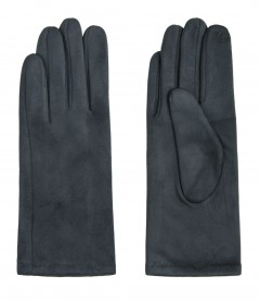 Einfarbige Damen Handschuhe, dunkelgrau